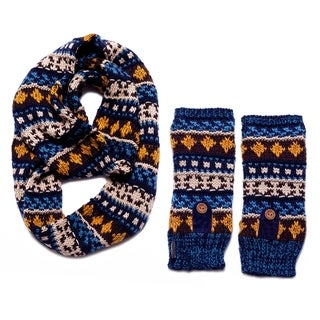 Muk Luks Women's Blue Traditional Eternity Scarf and Armwarmers Set