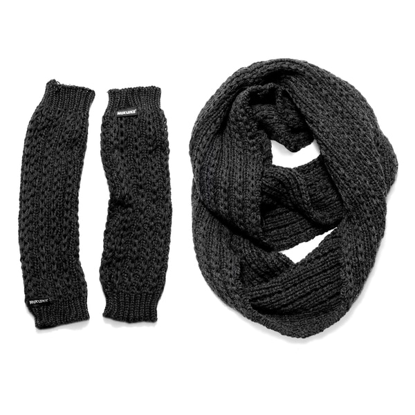 Muk Luks Women's Dark Grey Twisted Rib Eternity Scarf and Armwarmers Set