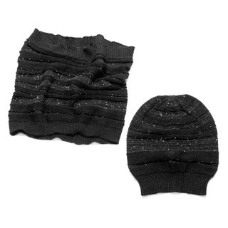 Muk Luks Women's Sprinkled Slouch Beanie And Funnel Set