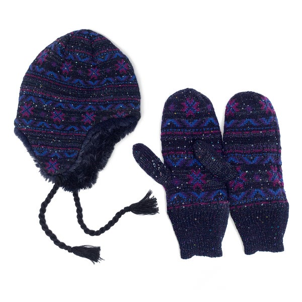 Muk Luks Sprinkled Snowflake Hat and Mittens Set