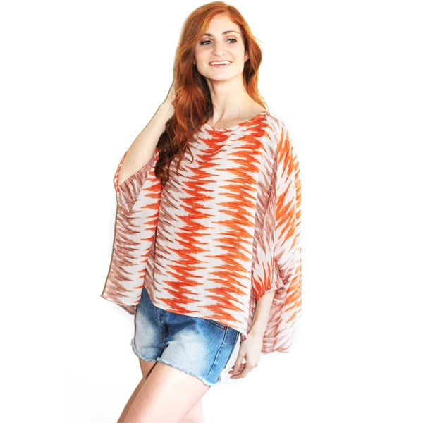 Lily Women's Coral Shelly Zig-zag Top