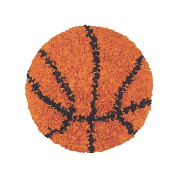 Shaggy Raggy Orange Basketball Area Rug (3' Round)