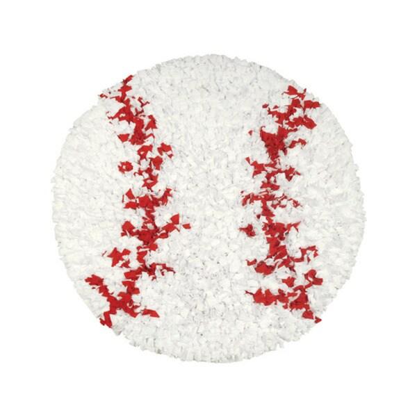 Shaggy Raggy Baseball Area Rug (3' Round)