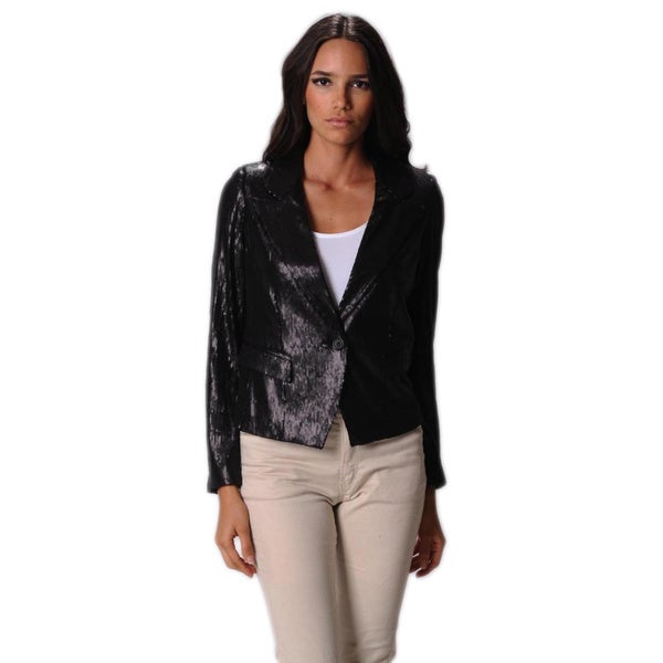 Sara Boo Women's Black Sequin Blazer