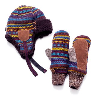 Muk Luks Vintage Trapper and Mittens Set