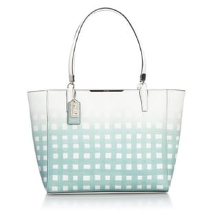 Coach 'Madison' Light Blue Leather Gingham Tote