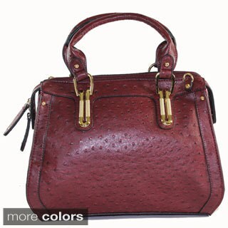Bueno Jazzy Structured Ostrich Embossed Satchel