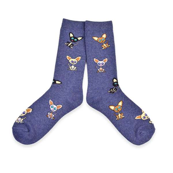 Tossed Chihuahua Cotton Crew Socks