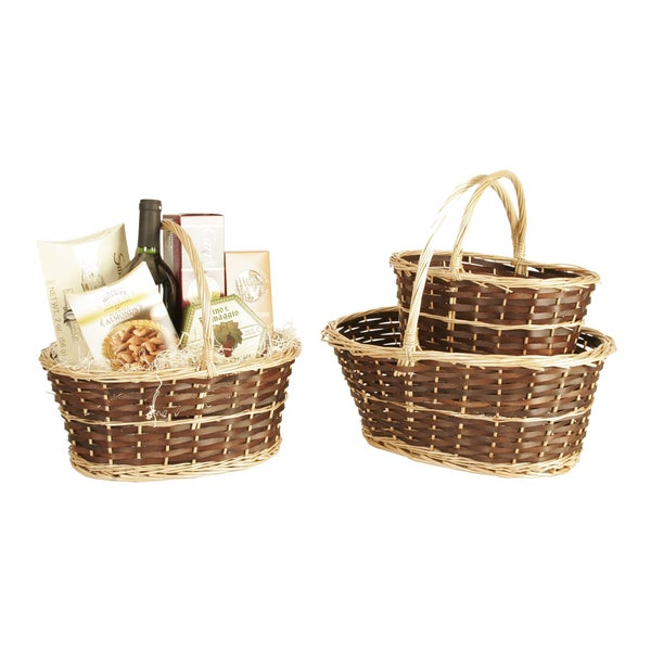 Two-Tone Willow Baskets (Set of Three)