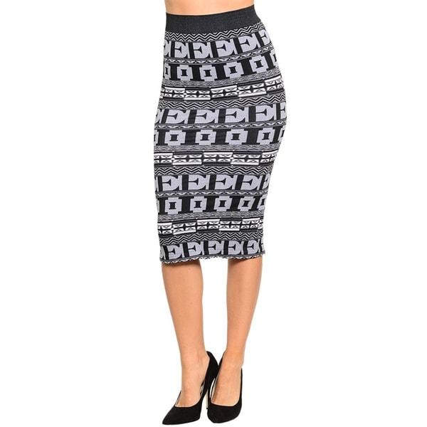 Stanzino Women's Grey Patterned Knee-length Pencil Skirt