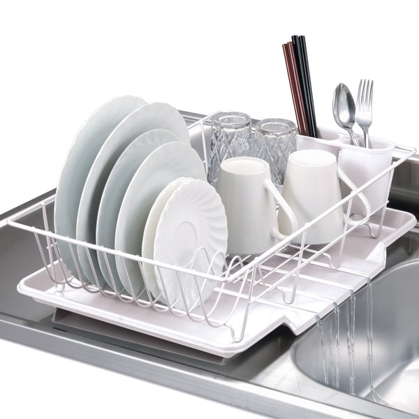 Three-Piece White Dish Drainer Set