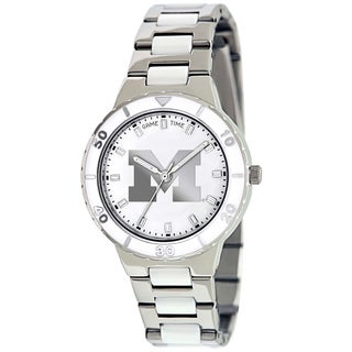 Game Time Women's Michigan Wolverines Logo Pearl Watch