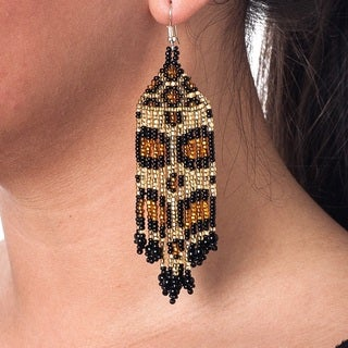 Hand Beaded Jaguar Earrings (Guatemala)