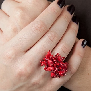 Red Berry Blossom Hand Beaded Ring (Guatemala)
