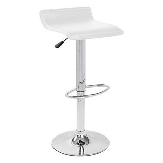 White Hydraulic Lift Adjustable Height Swivel Bar Stool