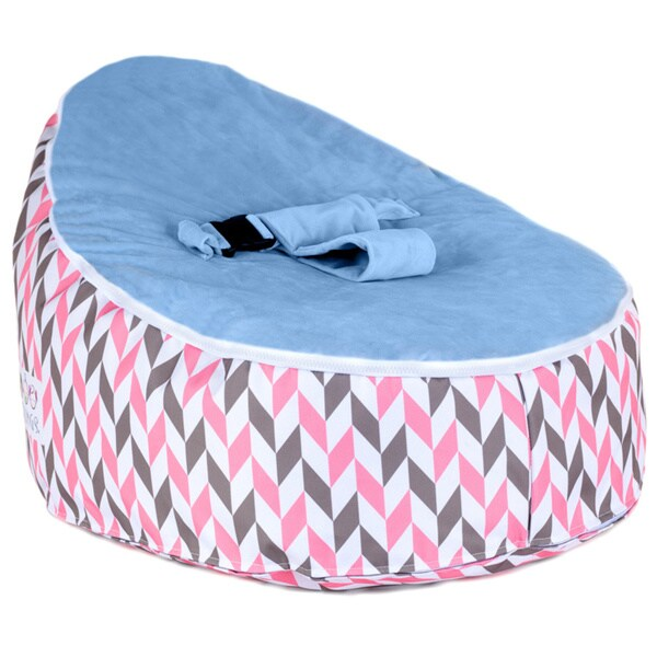 Totlings Snugglish Cream Retro Blue Velvet Top Baby Lounger