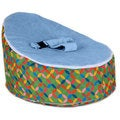 Totlings Snugglish Green with Blue Velvet Top Baby Lounger
