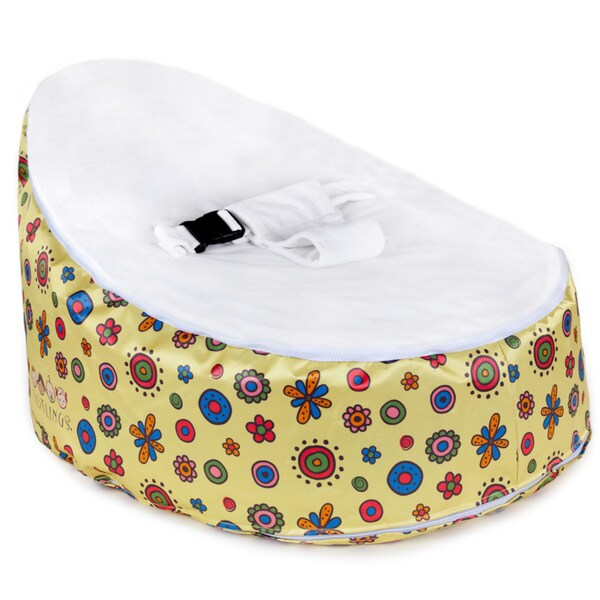Totlings Snugglish Gold Blossoms White Velvet Top Baby Lounger