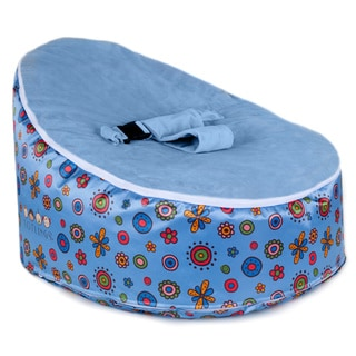 Totlings Snugglish Blue Blossoms with Blue Velvet Top Baby Lounger