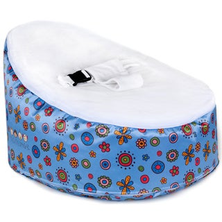 Totlings Snugglish Blue Blossoms with White Velvet Top Baby Lounger