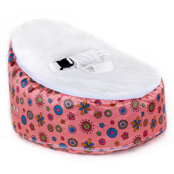 Totlings Snugglish Pink Blossoms White Velvet Top Baby Lounger