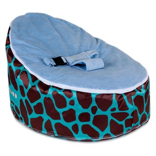 Totlings Snugglish Teal Meadows with Blue Velvet Top Baby Lounger