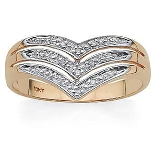 PalmBeach 10k Yellow Gold Chevron Diamond Accent Ring