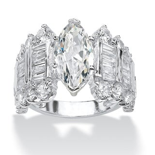 PalmBeach 6.54 TCW Marquise-Cut and Baguette Cubic Zirconia Engagement Anniversary Ring in Silvertone Glam CZ