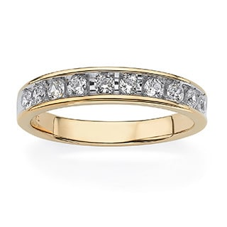 PalmBeach Men's .60 TCW Round Cubic Zirconia Wedding Ring in 18k Gold over Sterling Silver