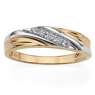 PalmBeach Men's Round 18k Gold over Sterling Silver Cubic Zirconia Wedding Band Ring