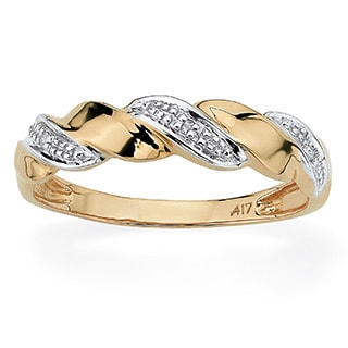 PalmBeach 10k Two-tone Gold Diamond Accent Wave Ring