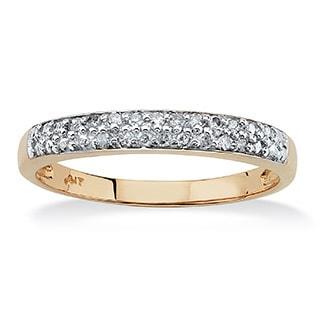 PalmBeach 10k Yellow Gold 1/10ct TDW Double-row Diamond Accent Ring (G-H, I2-I3)