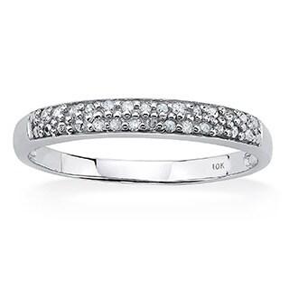 PalmBeach 10k White Gold 1/10ct TDW Diamond Double-row Ring (H-I, I2-I3)