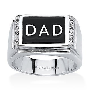PalmBeach Stainless Steel Men's Crystal Dad Ring