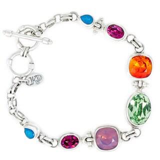Crystal Cyclamen, Fushia, Peridot, Fire, Caribbean in Sterling Silver Bracelet