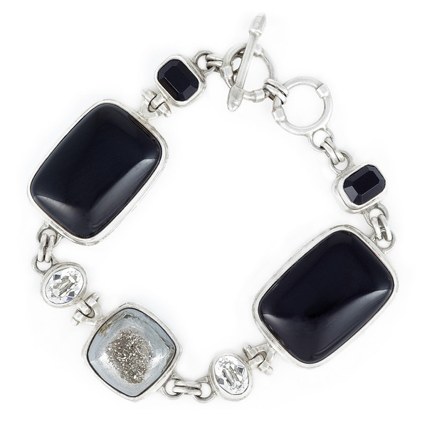 Crystal Jet Black and Silver Shade with Onyx and Silver Drusy Quartz in Sterling Silver Bracelet