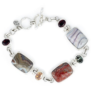 Crystal Burgandy, Copper and Black Crystal with Crazy Lace Agate in Sterling Silver Bracelet