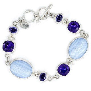 Crystal Purple Velvet, Tanzanite with Lace Agate in Sterling Silver Bracelet