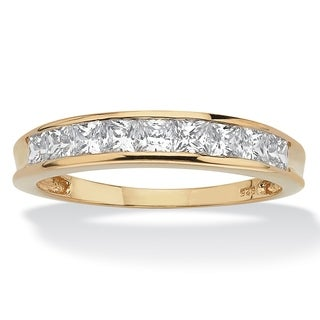 PalmBeach .81 TCW Princess-Cut Cubic Zirconia Anniversary Ring in 18k Gold over Sterling Silver Classic CZ