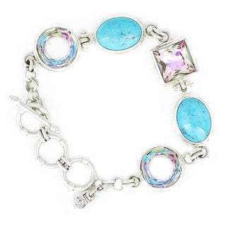 Crystal Vistral and Turquoise in Sterling Silver Bracelet
