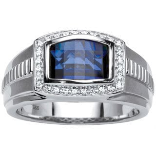 PalmBeach Platinum Over Silver Men's Lab Created Sapphire Ring