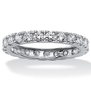 PalmBeach 2.40 TCW Round Cubic Zirconia Eternity Band in 10k White Gold Classic CZ