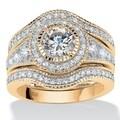 PalmBeach Gold over Silver 2 3/4ct TGW Round-cut Cubic Zirconia Bridal Set Glam CZ
