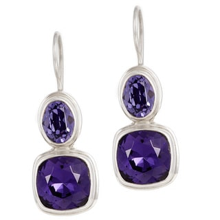 Crystal Tanzanite and Purple Velvet in Sterling Silver Wire Earrings