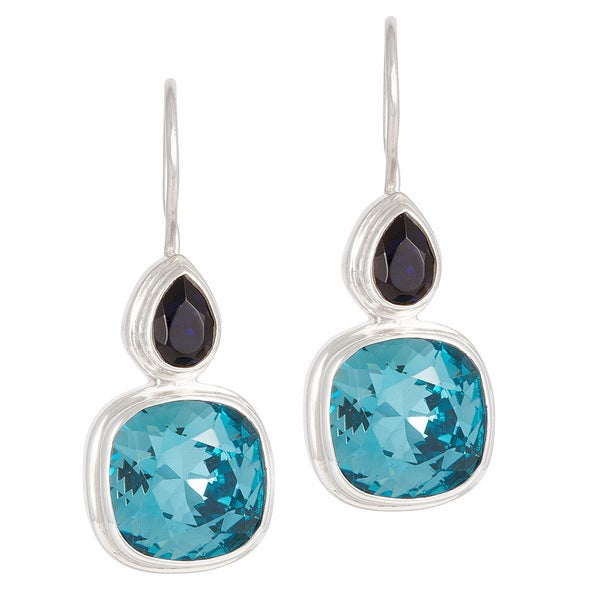 Crystal Indigo and Indicolite in Sterling Silver Wire Earrings