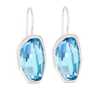 Crystal Calypso Aquamarine in Sterling Silver Wire Earrings