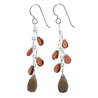 Ashanti Sterling Silver Smokey Quartz and Garnet Gemstone Handmade Earrings (Sri Lanka)