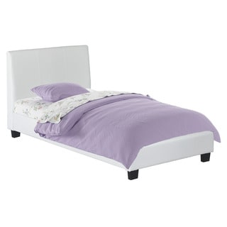 CorLiving San Diego White Leatherette Upholstered Bed