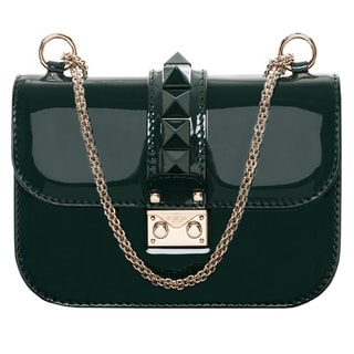 Valentino Forest Green Patent Leather Studded Shoulder Bag