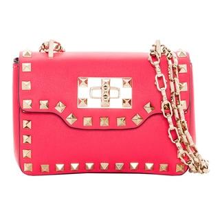 Valentino 'Rockstud' Pink Leather Mini Flap Shoulder Bag
